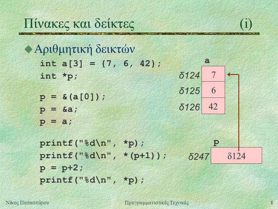 8Νίκος ΠαπασπύρουΠρογραμματιστικές Τεχνικές Πίνακες και δείκτες(i) u Αριθμητική δεικτών int a[3] = {7, 6, 42}; int *p; p δ247 a δ124 7 δ125 6 δ126 42 δ124 p = &(a[0]); p = &a; p = a; printf( %d\n , *p); printf( %d\n , *(p+1)); p = p+2; printf( %d\n , *p);