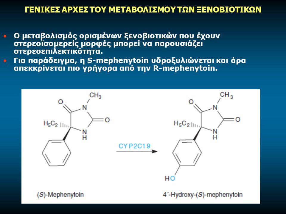 Ο μεταβολισμός ορισμένων ξενοβιοτικών που έχουν στερεοϊσομερείς μορφές μπορεί να παρουσιάζει στερεοεπιλεκτικότητα.