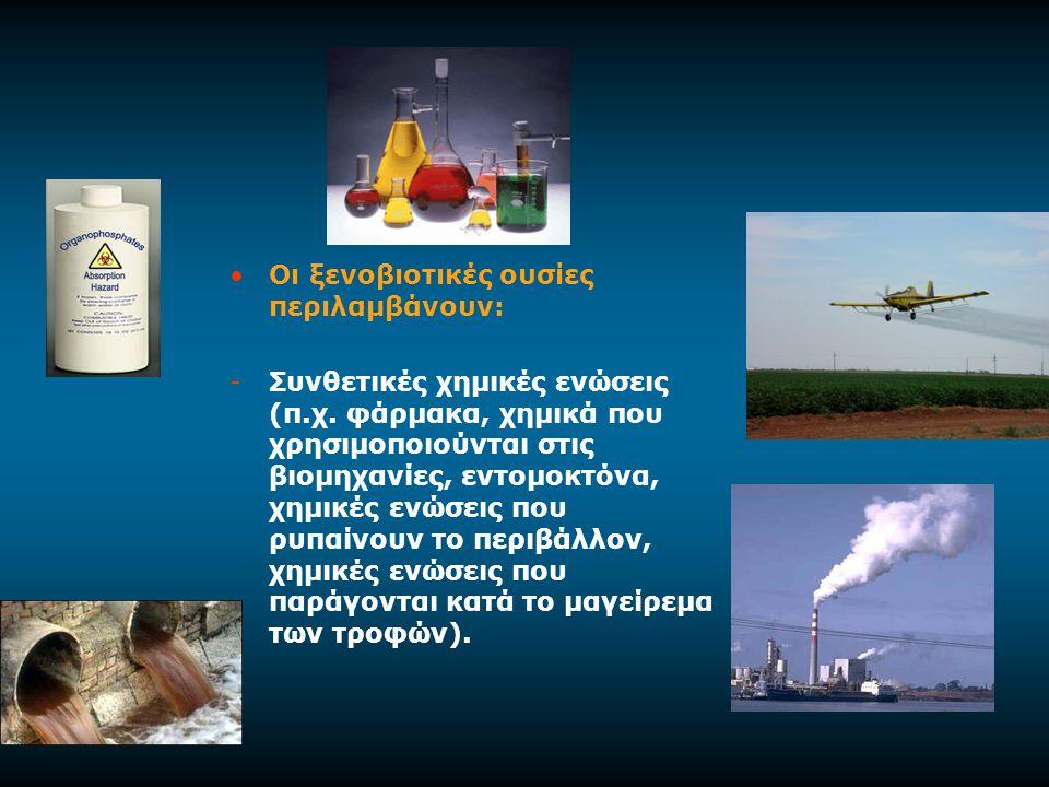 Οι ξενοβιοτικές ουσίες περιλαμβάνουν: -Συνθετικές χημικές ενώσεις (π.χ.