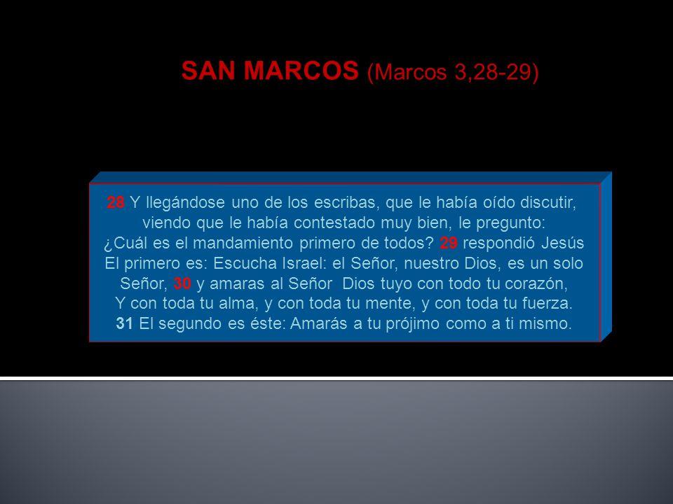 SAN MARCOS (Marcos 3,28-29) 28 Y llegándose uno de los escribas, que le había oído discutir, viendo que le había contestado muy bien, le pregunto: ¿Cu