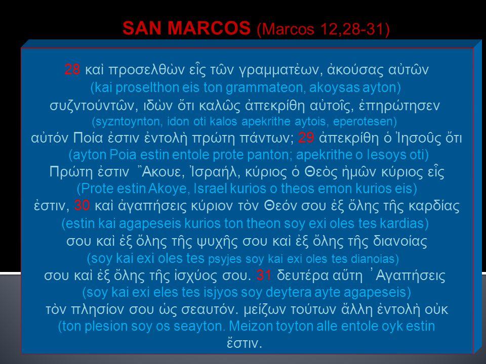 SAN MARCOS (Marcos 12,28-31) 28 καὶ προσελθὼν εἷς τῶν γραμματἐων, ἀκούσας αὐτῶν (kai proselthon eis ton grammateon, akoysas ayton) συζντούντῶν, ιδὼν ὄ