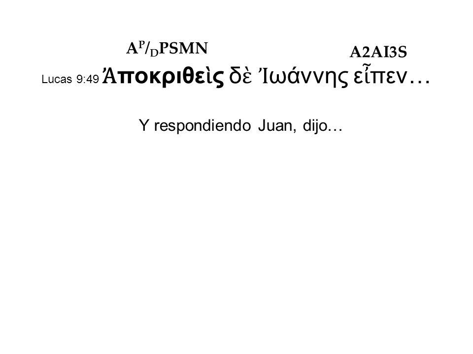Lucas 9:49 Ἀ ποκριθε ὶ ς δ ὲ Ἰ ωάννης ε ἶ πεν… Y respondiendo Juan, dijo… A P / D PSMN A2AI3S
