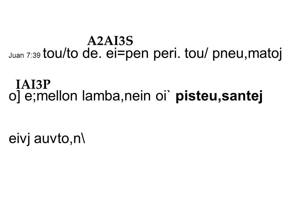 Juan 7:39 tou/to de. ei=pen peri.