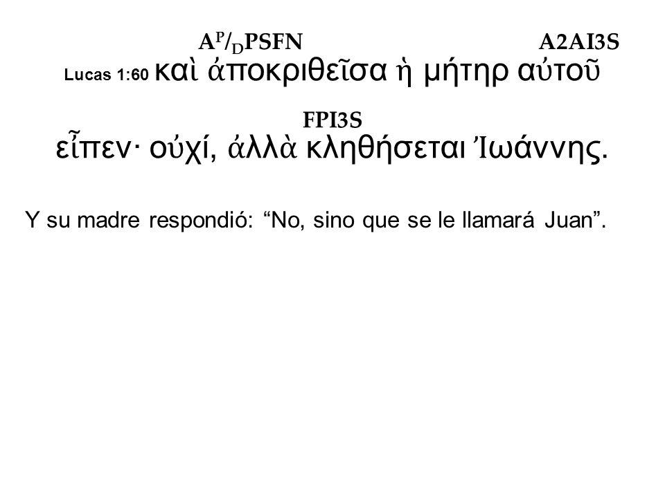 Lucas 1:60 κα ὶ ἀ ποκριθε ῖ σα ἡ μήτηρ α ὐ το ῦ ε ἶ πεν· ο ὐ χί, ἀ λλ ὰ κληθήσεται Ἰ ωάννης.