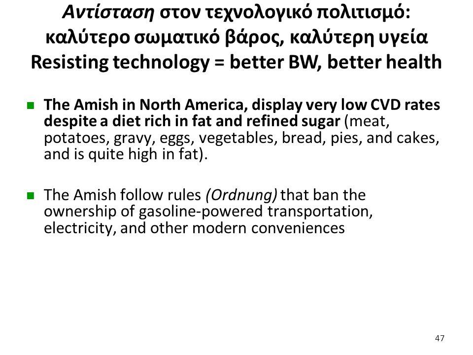 Αντίσταση στον τεχνολογικό πολιτισμό: καλύτερο σωματικό βάρος, καλύτερη υγεία Resisting technology = better BW, better health The Amish in North Ameri