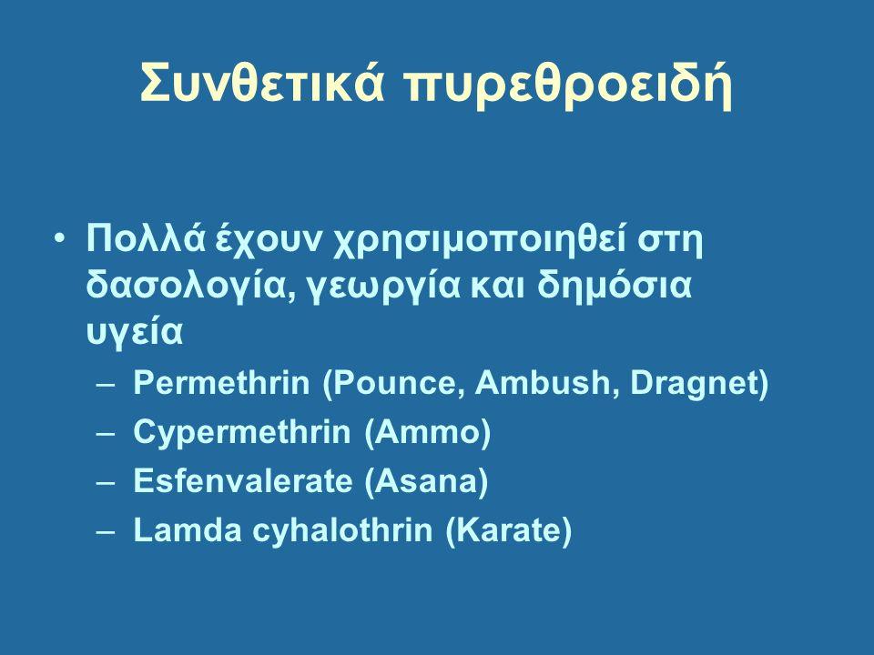 Συνθετικά πυρεθροειδή Πολλά έχουν χρησιμοποιηθεί στη δασολογία, γεωργία και δημόσια υγεία – Permethrin (Pounce, Ambush, Dragnet) – Cypermethrin (Ammo)