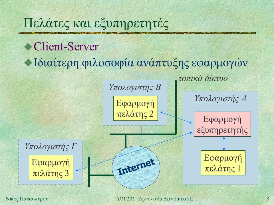 3Νίκος ΠαπασπύρουΛΟΓ201: Τεχνολογία Λογισμικού ΙΙ Υπολογιστής ΓΥπολογιστής B Υπολογιστής Α Πελάτες και εξυπηρετητές u Client-Server u Ιδιαίτερη φιλοσοφία ανάπτυξης εφαρμογών Εφαρμογή εξυπηρετητής Εφαρμογή πελάτης 1 Εφαρμογή πελάτης 2 Εφαρμογή πελάτης 3 Internet τοπικό δίκτυο