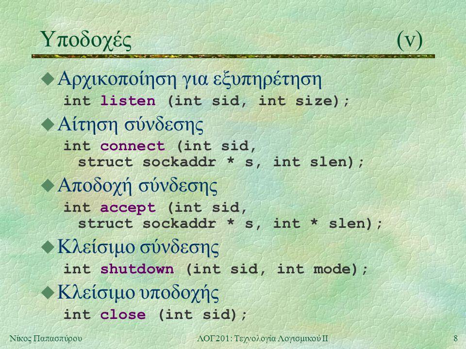8Νίκος ΠαπασπύρουΛΟΓ201: Τεχνολογία Λογισμικού ΙΙ Υποδοχές(v) u Αρχικοποίηση για εξυπηρέτηση int listen (int sid, int size); u Αίτηση σύνδεσης int connect (int sid, struct sockaddr * s, int slen); u Αποδοχή σύνδεσης int accept (int sid, struct sockaddr * s, int * slen); u Κλείσιμο σύνδεσης int shutdown (int sid, int mode); u Κλείσιμο υποδοχής int close (int sid);