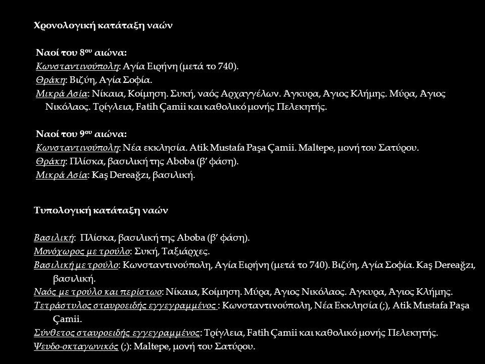 Τυπολογική κατάταξη ναών Βασιλική: Πλίσκα, βασιλική της Aboba (β' φάση). Μονόχωρος με τρούλο: Συκή, Ταξιάρχες. Βασιλική με τρούλο: Κωνσταντινούπολη, Α