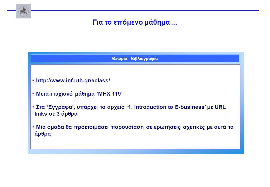 Για το επόμενο μάθημα... http://www.inf.uth.gr/eclass/ Mεταπτυχιακό μάθημα 'ΜΗΧ 119' Στα 'Εγγραφα', υπάρχει το αρχείο '1. Introduction to E-business'