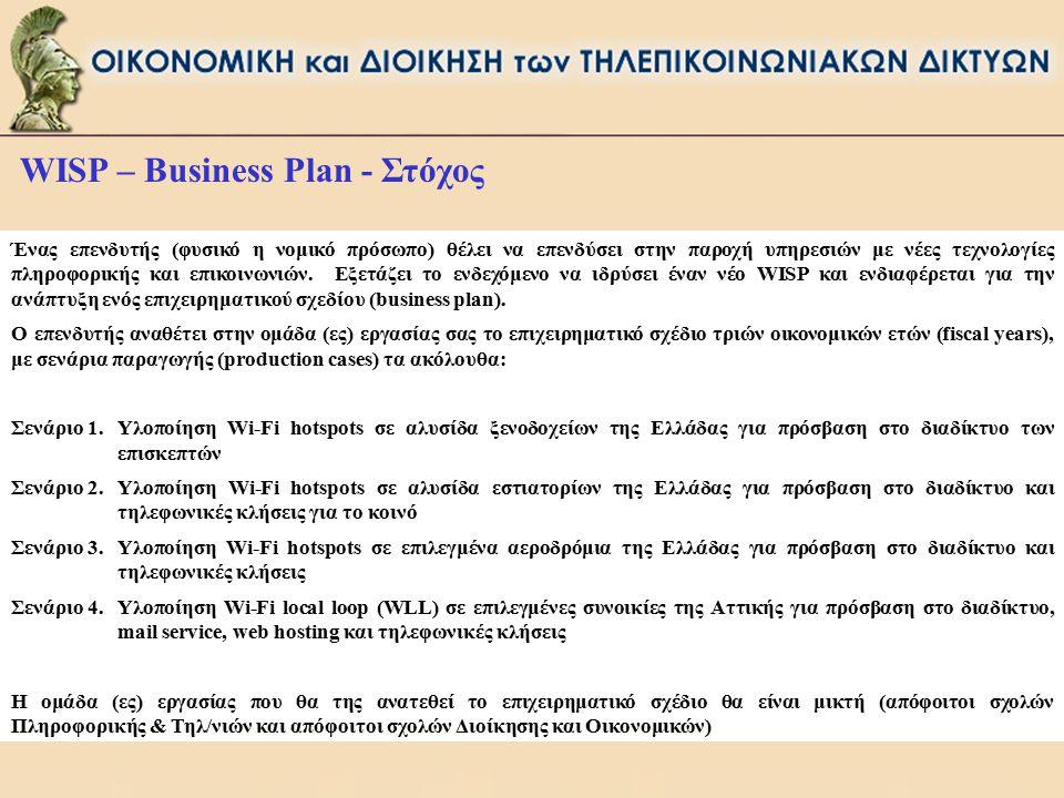 WISP – Business Plan - Στόχος Ένας επενδυτής (φυσικό η νομικό πρόσωπο) θέλει να επενδύσει στην παροχή υπηρεσιών με νέες τεχνολογίες πληροφορικής και ε