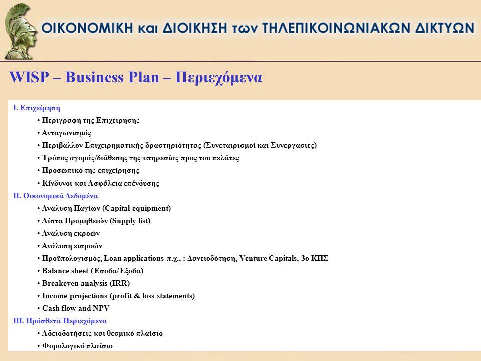 WISP – Business Plan – Περιεχόμενα I. Επιχείρηση Περιγραφή της Επιχείρησης Ανταγωνισμός Περιβάλλον Επιχειρηματικής δραστηριότητας (Συνεταιρισμοί και Σ