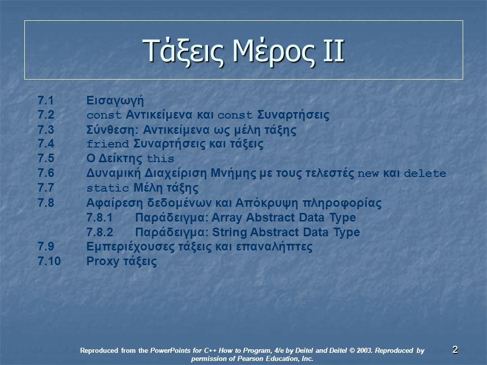 3 Εισαγωγή Τάξεις Τάξεις Αφαίρεση Δεδομένων Αφαίρεση Δεδομένων Αντικειμενοστραφής προγραμματισμός Αντικειμενοστραφής προγραμματισμός Κληρονομικότητα και πολυμορφισμός Κληρονομικότητα και πολυμορφισμός Reproduced from the PowerPoints for C++ How to Program, 4/e by Deitel and Deitel © 2003.