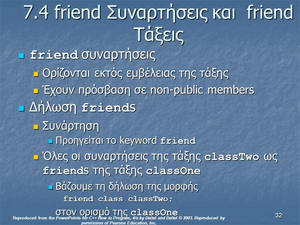 32 7.4 friend Συναρτήσεις και friend Τάξεις friend συναρτήσεις friend συναρτήσεις Ορίζονται εκτός εμβέλειας της τάξης Ορίζονται εκτός εμβέλειας της τάξης Έχουν πρόσβαση σε non-public members Έχουν πρόσβαση σε non-public members Δήλωση friend s Δήλωση friend s Συνάρτηση Συνάρτηση Προηγείται το keyword friend Προηγείται το keyword friend Όλες οι συναρτήσεις της τάξης classTwo ως friend s της τάξης classOne Όλες οι συναρτήσεις της τάξης classTwo ως friend s της τάξης classOne Βάζουμε τη δήλωση της μορφής Βάζουμε τη δήλωση της μορφής friend class classTwo; στον ορισμό της classOne Reproduced from the PowerPoints for C++ How to Program, 4/e by Deitel and Deitel © 2003.
