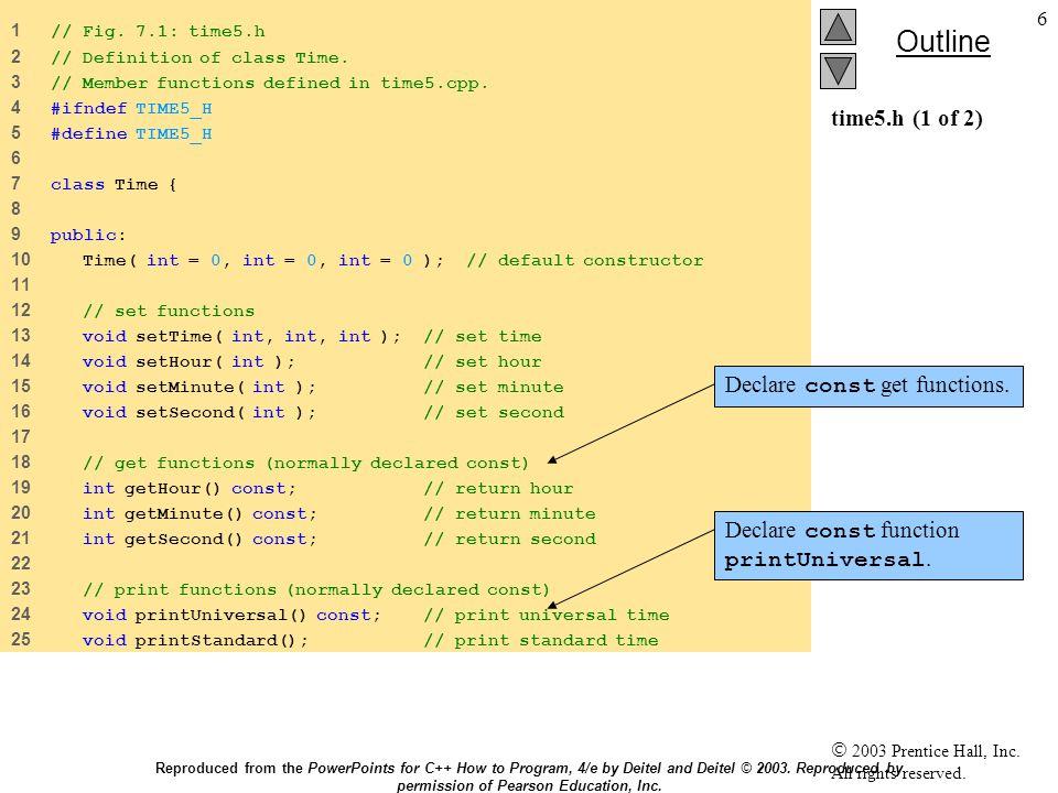 57 7.7 static τάξεις static τάξης μεταβλητή static τάξης μεταβλητή Δεδομένα διαθέσιμα σε όλη την τάξη Δεδομένα διαθέσιμα σε όλη την τάξη Ιδιότητα της τάξης, όχι συγκεκριμένου αντικειμένου της τάξης Ιδιότητα της τάξης, όχι συγκεκριμένου αντικειμένου της τάξης Αποδοτικό όταν απλά ένα αντίγραφο της τάξης είναι αρκετό Αποδοτικό όταν απλά ένα αντίγραφο της τάξης είναι αρκετό Μόνο η μεταβλητή static πρέπει να ενημερώνεται Μόνο η μεταβλητή static πρέπει να ενημερώνεται Μπορεί να μοιάζει με global, αλλά έχει εμβέλεια στην τάξη Μπορεί να μοιάζει με global, αλλά έχει εμβέλεια στην τάξη Αρχικοποιείται μια μόνο φορά Αρχικοποιείται μια μόνο φορά Υπάρχει ακόμη και χωρίς αντικείμενο Υπάρχει ακόμη και χωρίς αντικείμενο Reproduced from the PowerPoints for C++ How to Program, 4/e by Deitel and Deitel © 2003.