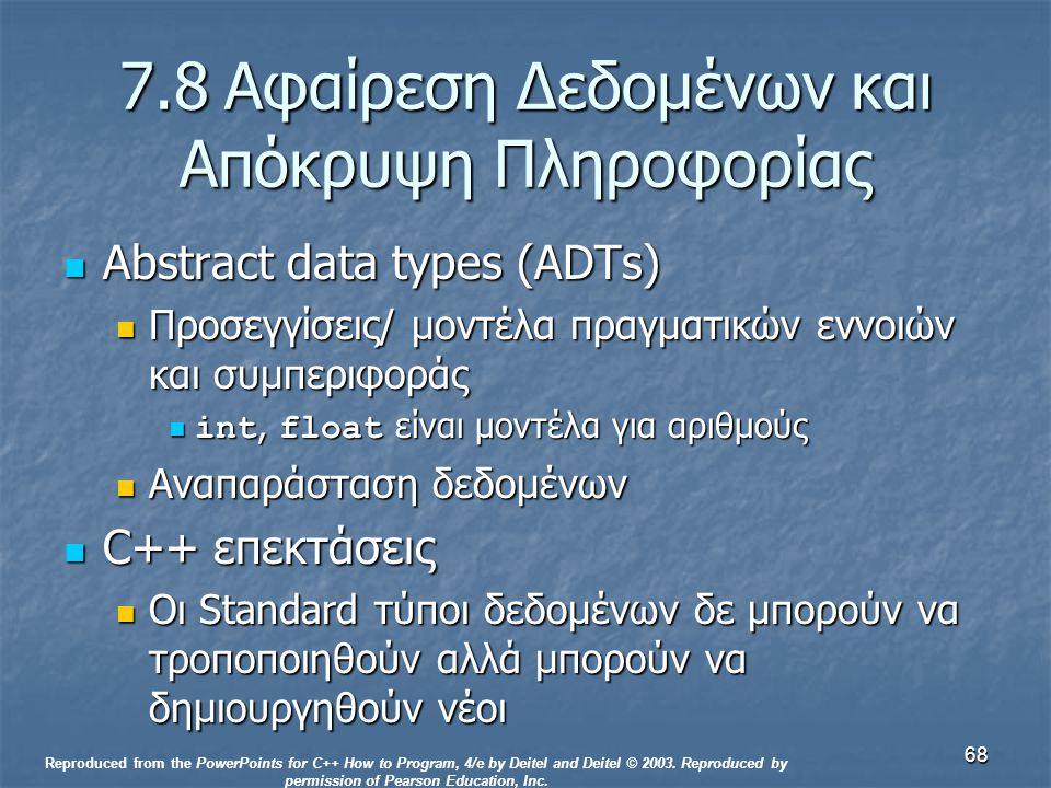 68 7.8Αφαίρεση Δεδομένων και Απόκρυψη Πληροφορίας Abstract data types (ADTs) Abstract data types (ADTs) Προσεγγίσεις/ μοντέλα πραγματικών εννοιών και συμπεριφοράς Προσεγγίσεις/ μοντέλα πραγματικών εννοιών και συμπεριφοράς int, float είναι μοντέλα για αριθμούς int, float είναι μοντέλα για αριθμούς Αναπαράσταση δεδομένων Αναπαράσταση δεδομένων C++ επεκτάσεις C++ επεκτάσεις Οι Standard τύποι δεδομένων δε μπορούν να τροποποιηθούν αλλά μπορούν να δημιουργηθούν νέοι Οι Standard τύποι δεδομένων δε μπορούν να τροποποιηθούν αλλά μπορούν να δημιουργηθούν νέοι Reproduced from the PowerPoints for C++ How to Program, 4/e by Deitel and Deitel © 2003.