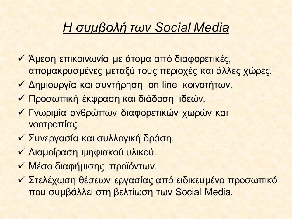 Η συμβολή των Social Media Άμεση επικοινωνία με άτομα από διαφορετικές, απομακρυσμένες μεταξύ τους περιοχές και άλλες χώρες. Δημιουργία και συντήρηση