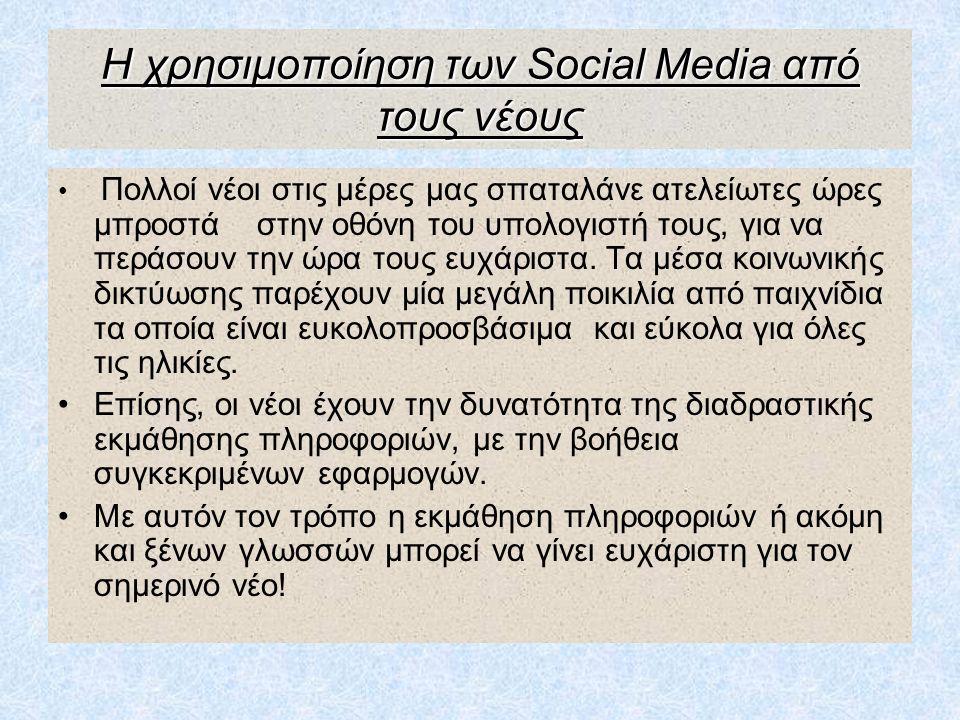 Η χρησιμοποίηση των Social Media από τους νέους Πολλοί νέοι στις μέρες μας σπαταλάνε ατελείωτες ώρες μπροστά στην οθόνη του υπολογιστή τους, για να πε
