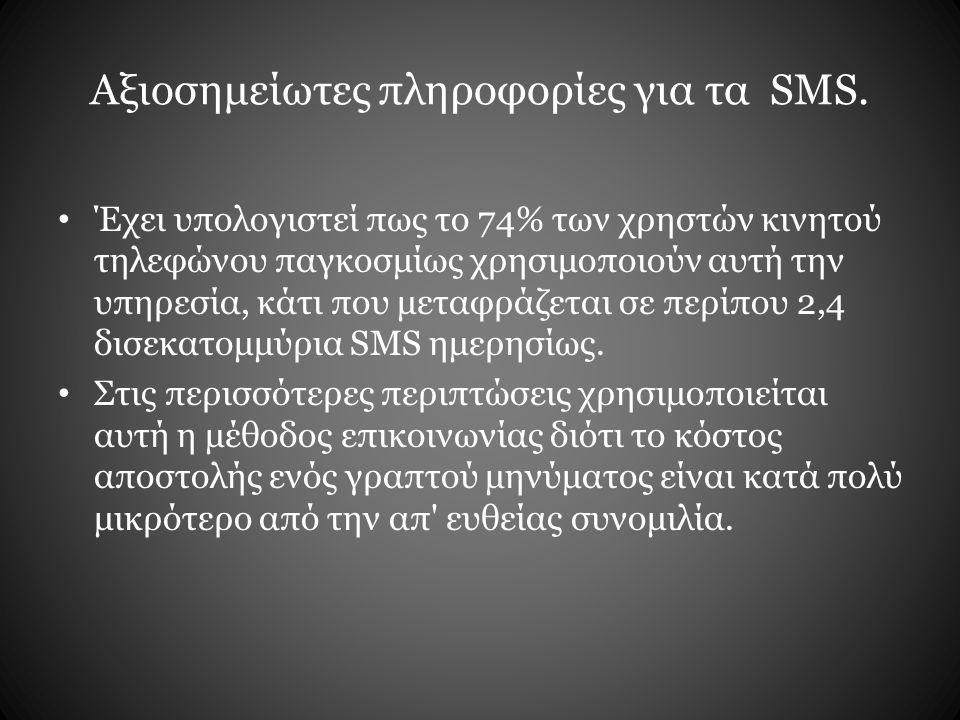 Αξιοσημείωτες πληροφορίες για τα SMS. Έχει υπολογιστεί πως το 74% των χρηστών κινητού τηλεφώνου παγκοσμίως χρησιμοποιούν αυτή την υπηρεσία, κάτι που μ