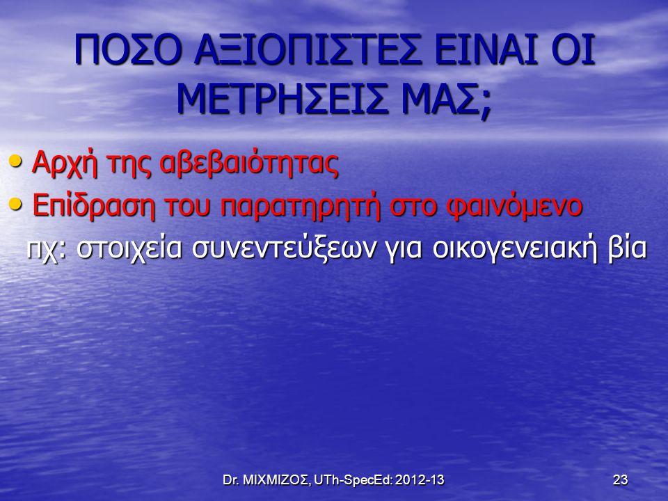 Dr. ΜΙΧΜΙΖΟΣ, UTh-SpecEd: 2012-13 23 ΠΟΣΟ ΑΞΙΟΠΙΣΤΕΣ ΕΙΝΑΙ ΟΙ ΜΕΤΡΗΣΕΙΣ ΜΑΣ; Αρχή της αβεβαιότητας Αρχή της αβεβαιότητας Επίδραση του παρατηρητή στο φ