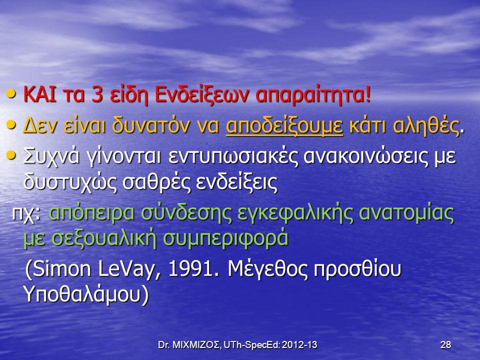 Dr. ΜΙΧΜΙΖΟΣ, UTh-SpecEd: 2012-13 28 ΚΑΙ τα 3 είδη Ενδείξεων απαραίτητα! ΚΑΙ τα 3 είδη Ενδείξεων απαραίτητα! Δεν είναι δυνατόν να αποδείξουμε κάτι αλη