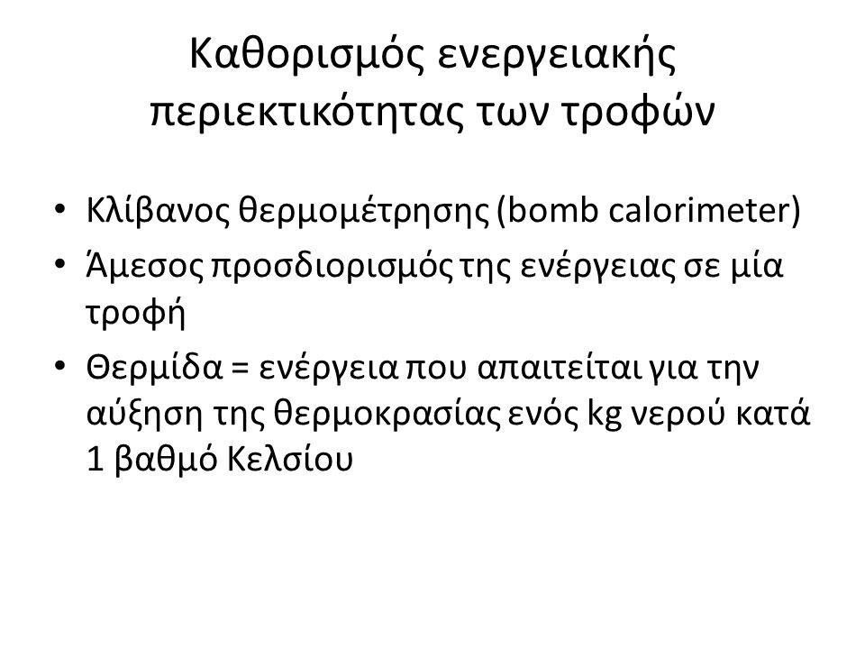 Καθορισμός ενεργειακής περιεκτικότητας των τροφών Κλίβανος θερμομέτρησης (bomb calorimeter) Άμεσος προσδιορισμός της ενέργειας σε μία τροφή Θερμίδα =