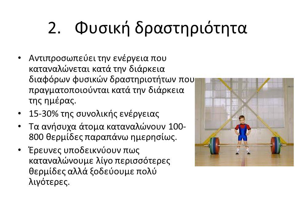 2.Φυσική δραστηριότητα Αντιπροσωπεύει την ενέργεια που καταναλώνεται κατά την διάρκεια διαφόρων φυσικών δραστηριοτήτων που πραγματοποιούνται κατά την