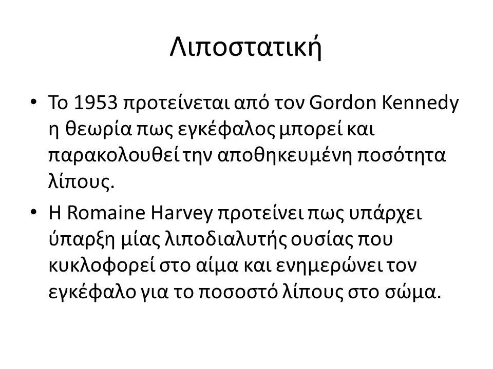 Λιποστατική Το 1953 προτείνεται από τον Gordon Kennedy η θεωρία πως εγκέφαλος μπορεί και παρακολουθεί την αποθηκευμένη ποσότητα λίπους. Η Romaine Harv