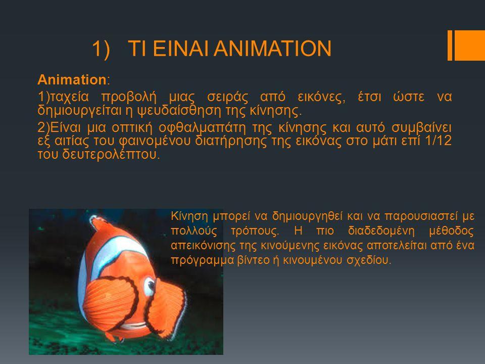 1) ΤΙ ΕΙΝΑΙ ΑΝΙΜΑΤΙΟΝ Animation: 1)ταχεία προβολή μιας σειράς από εικόνες, έτσι ώστε να δημιουργείται η ψευδαίσθηση της κίνησης. 2)Είναι μια οπτική οφ