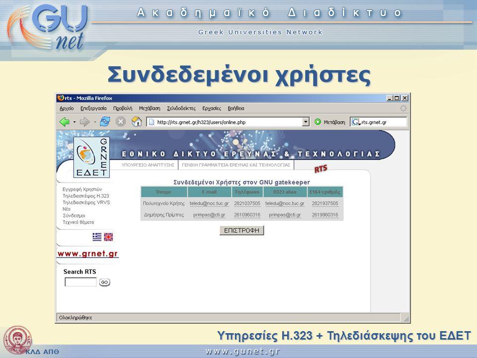 ΚΛΔ ΑΠΘ Συνδεδεμένοι χρήστες Υπηρεσίες H.323 + Τηλεδιάσκεψης του ΕΔΕΤ