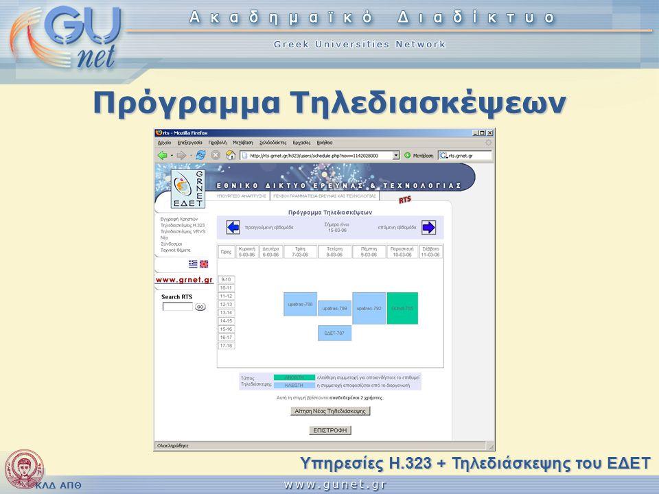 ΚΛΔ ΑΠΘ Πρόγραμμα Τηλεδιασκέψεων Υπηρεσίες H.323 + Τηλεδιάσκεψης του ΕΔΕΤ