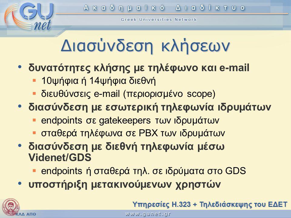 ΚΛΔ ΑΠΘ Διασύνδεση κλήσεων δυνατότητες κλήσης με τηλέφωνο και e-mail  10ψήφια ή 14ψήφια διεθνή  διευθύνσεις e-mail (περιορισμένο scope) διασύνδεση με εσωτερική τηλεφωνία ιδρυμάτων  endpoints σε gatekeepers των ιδρυμάτων  σταθερά τηλέφωνα σε PBX των ιδρυμάτων διασύνδεση με διεθνή τηλεφωνία μέσω Videnet/GDS  endpoints ή σταθερά τηλ.