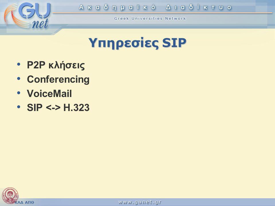 ΚΛΔ ΑΠΘ Υπηρεσίες SIP P2P κλήσεις Conferencing VoiceMail SIP H.323