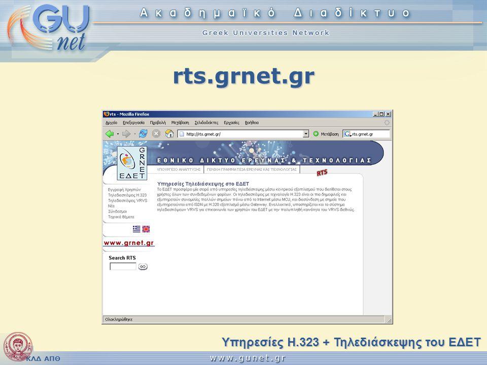 ΚΛΔ ΑΠΘ Υπηρεσίες διεθνών κλήσεων VideNet/GDS