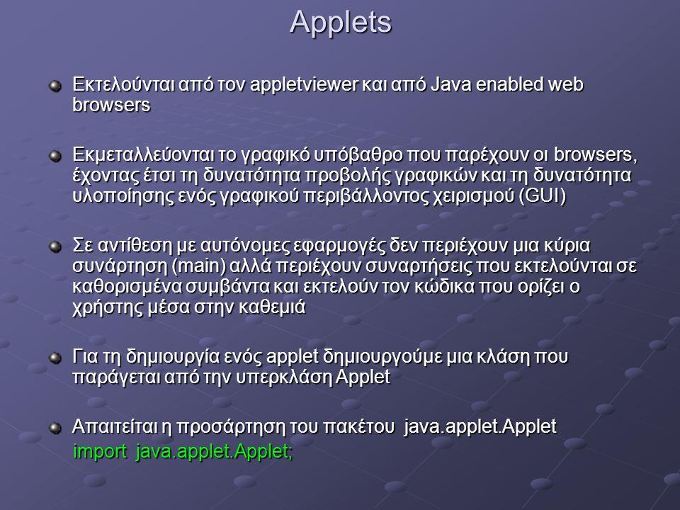 Applets Εκτελούνται από τον appletviewer και από Java enabled web browsers Εκμεταλλεύονται τo γραφικό υπόβαθρο που παρέχουν οι browsers, έχοντας έτσι τη δυνατότητα προβολής γραφικών και τη δυνατότητα υλοποίησης ενός γραφικού περιβάλλοντος χειρισμού (GUI) Σε αντίθεση με αυτόνομες εφαρμογές δεν περιέχουν μια κύρια συνάρτηση (main) αλλά περιέχουν συναρτήσεις που εκτελούνται σε καθορισμένα συμβάντα και εκτελούν τον κώδικα που ορίζει ο χρήστης μέσα στην καθεμιά Για τη δημιουργία ενός applet δημιουργούμε μια κλάση που παράγεται από την υπερκλάση Applet Απαιτείται η προσάρτηση του πακέτου java.applet.Applet import java.applet.Applet; import java.applet.Applet;
