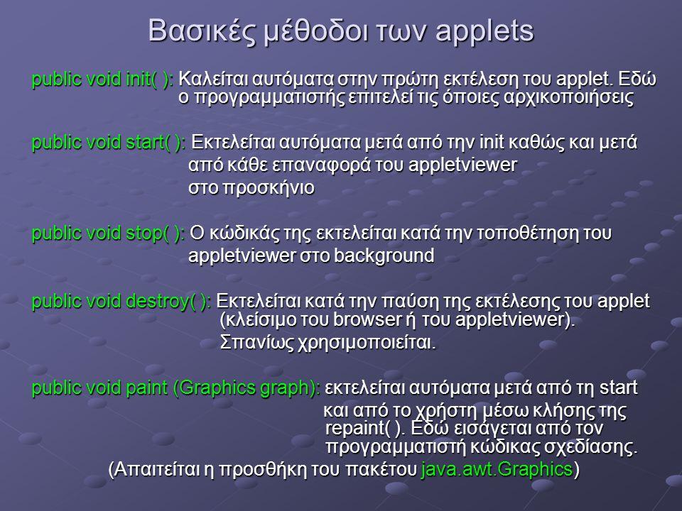 Βασικές μέθοδοι των applets public void init( ): Καλείται αυτόματα στην πρώτη εκτέλεση του applet.