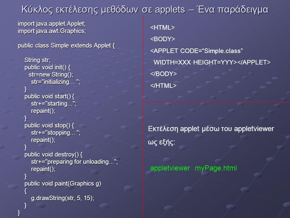 Γραφικά στη Java Ο σχεδιασμός γραφικών αντικειμένων με τη χρήση της κλάσης Graphics (απαιτείται η προσθήκη του πακέτου java.awt.Graphics) Ένα αντικείμενο της κλάσης Graphics περιέχει μεθόδους για το σχεδιασμό γραμμών και βασικών σχημάτων.