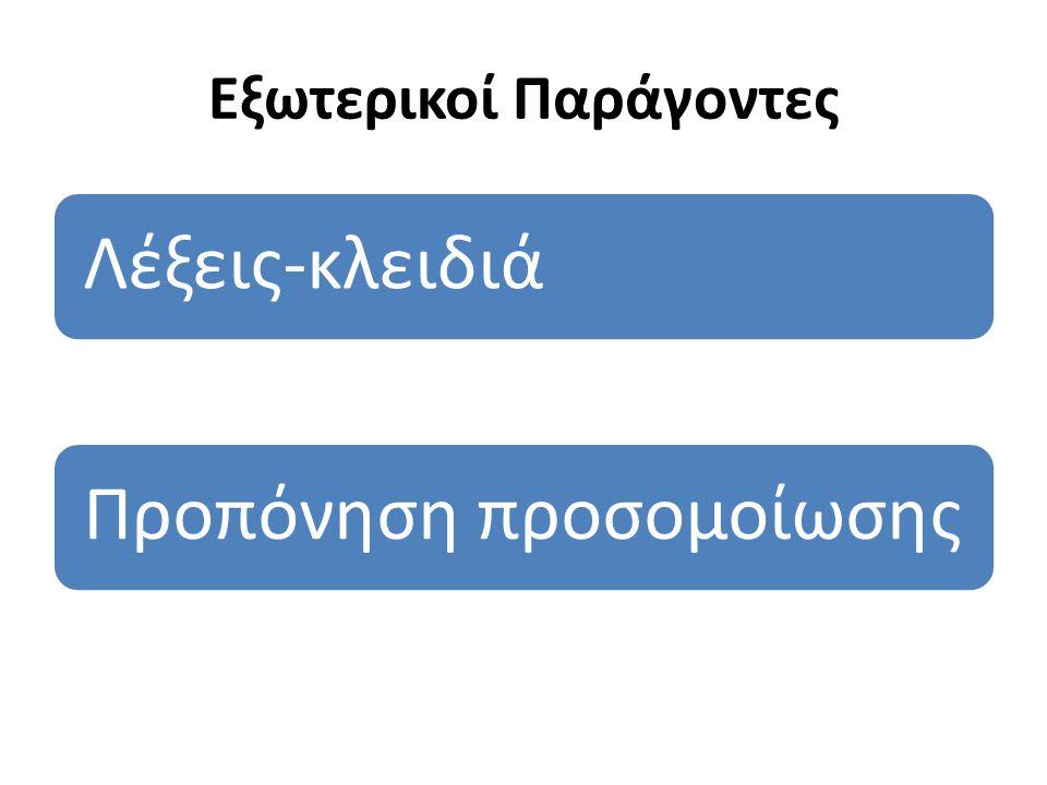 Εξωτερικοί Παράγοντες Λέξεις-κλειδιάΠροπόνηση προσομοίωσης