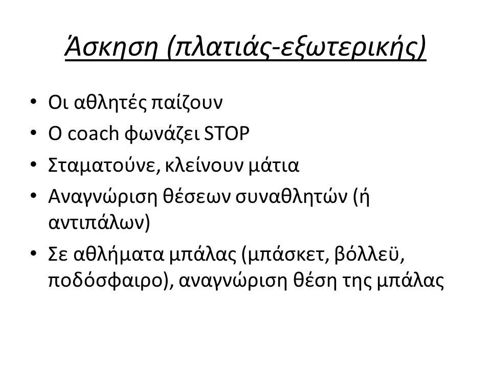 Άσκηση (πλατιάς-εξωτερικής) Οι αθλητές παίζουν Ο coach φωνάζει STOP Σταματούνε, κλείνουν μάτια Αναγνώριση θέσεων συναθλητών (ή αντιπάλων) Σε αθλήματα μπάλας (μπάσκετ, βόλλεϋ, ποδόσφαιρο), αναγνώριση θέση της μπάλας