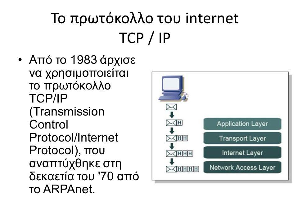 Το πρωτόκολλο του internet TCP / IP Από το 1983 άρχισε να χρησιμοποιείται το πρωτόκολλο TCP/IP (Transmission Control Protocol/Internet Protocol), που