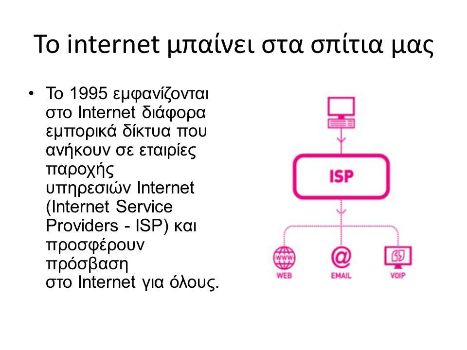 Το internet μπαίνει στα σπίτια μας Το 1995 εμφανίζονται στο Internet διάφορα εμπορικά δίκτυα που ανήκουν σε εταιρίες παροχής υπηρεσιών Internet (Inter