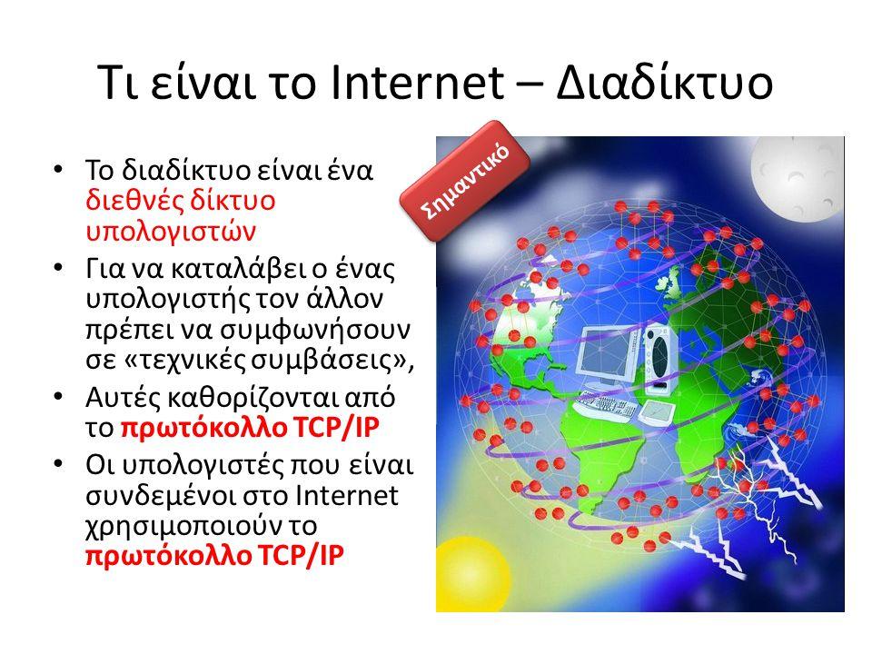 Τι είναι το Internet – Διαδίκτυο Το διαδίκτυο είναι ένα διεθνές δίκτυο υπολογιστών Για να καταλάβει ο ένας υπολογιστής τον άλλον πρέπει να συμφωνήσουν