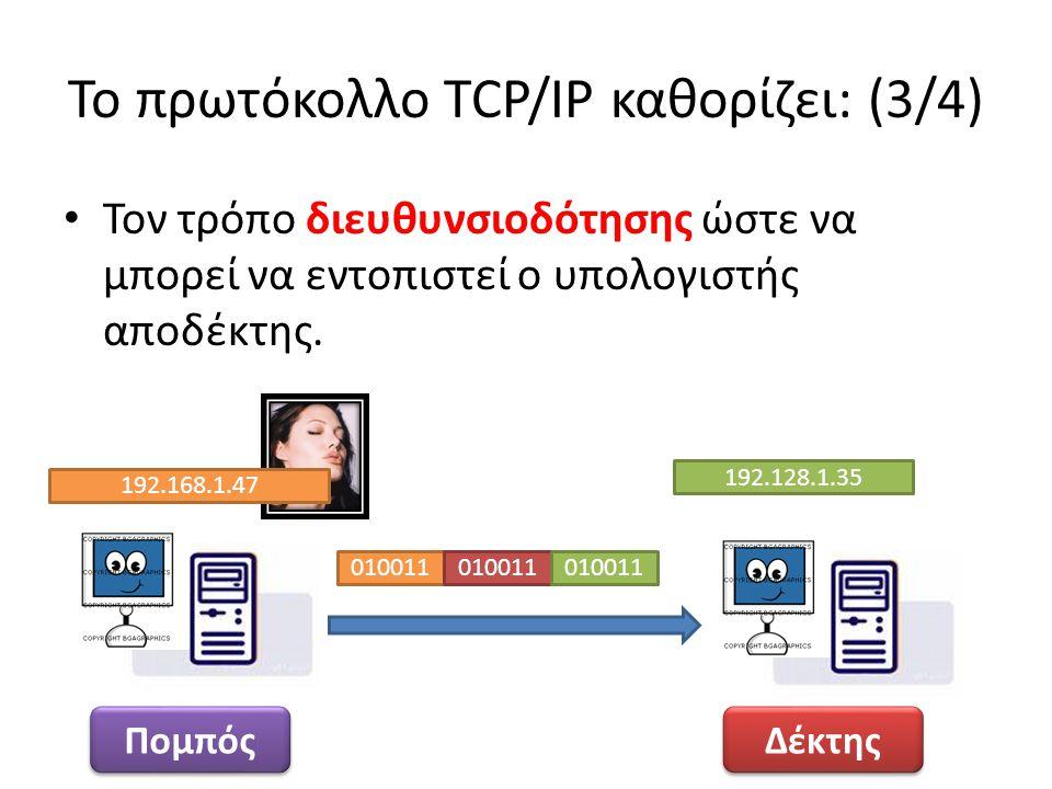 Το πρωτόκολλο TCP/IP καθορίζει: (3/4) Τον τρόπο διευθυνσιοδότησης ώστε να μπορεί να εντοπιστεί ο υπολογιστής αποδέκτης. Δέκτης Πομπός 192.128.1.35 010