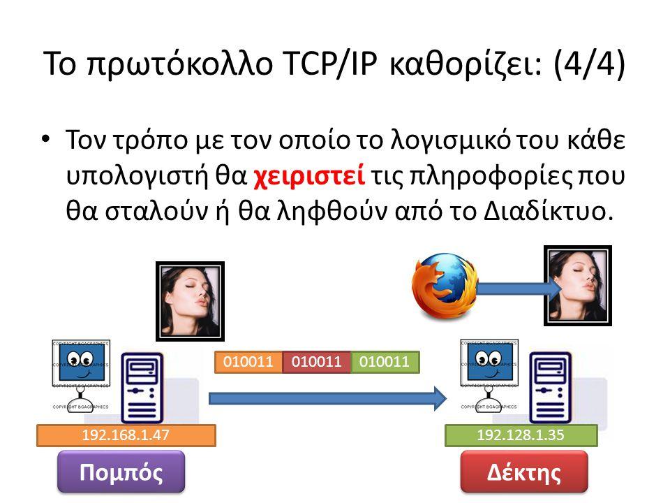 Το πρωτόκολλο TCP/IP καθορίζει: (4/4) Τον τρόπο με τον οποίο το λογισμικό του κάθε υπολογιστή θα χειριστεί τις πληροφορίες που θα σταλούν ή θα ληφθούν