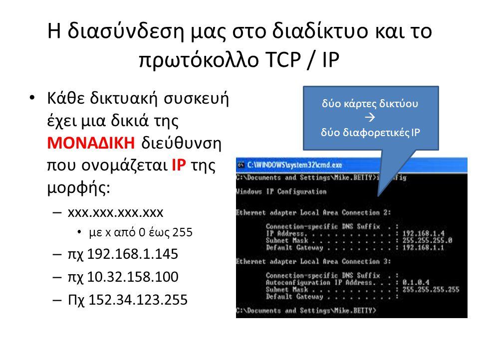 Η διασύνδεση μας στο διαδίκτυο και το πρωτόκολλο TCP / IP Κάθε δικτυακή συσκευή έχει μια δικιά της ΜΟΝΑΔΙΚΗ διεύθυνση που ονομάζεται IP της μορφής: –