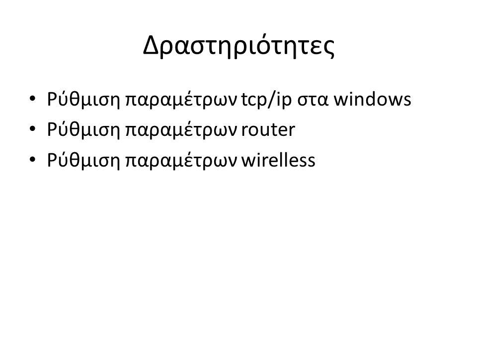 Δραστηριότητες Ρύθμιση παραμέτρων tcp/ip στα windows Ρύθμιση παραμέτρων router Ρύθμιση παραμέτρων wirelless