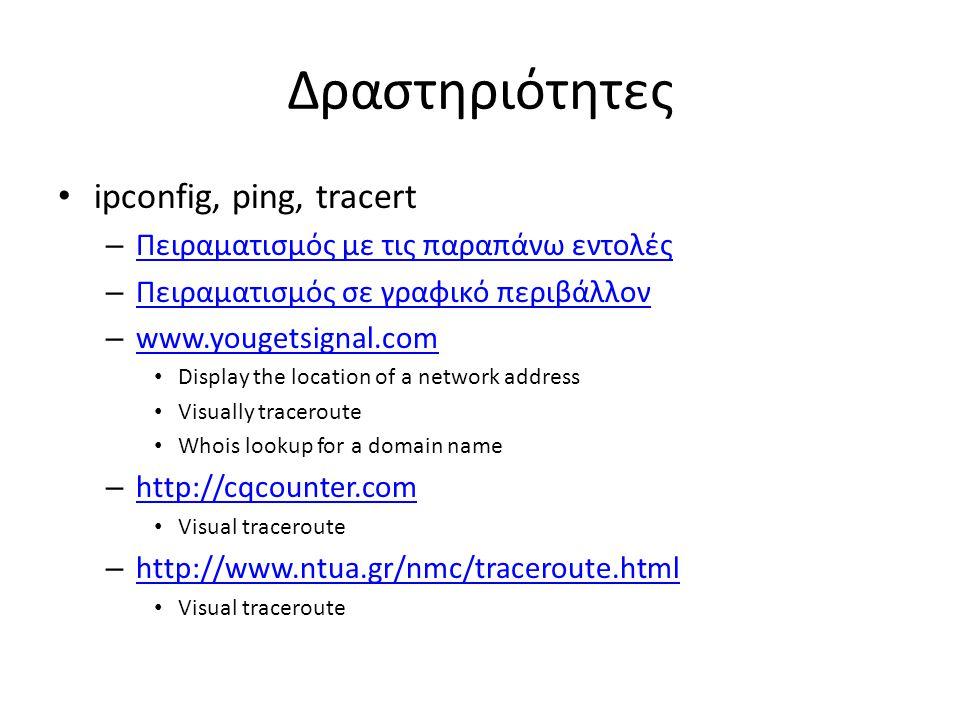 Δραστηριότητες ipconfig, ping, tracert – Πειραματισμός με τις παραπάνω εντολές Πειραματισμός με τις παραπάνω εντολές – Πειραματισμός σε γραφικό περιβά