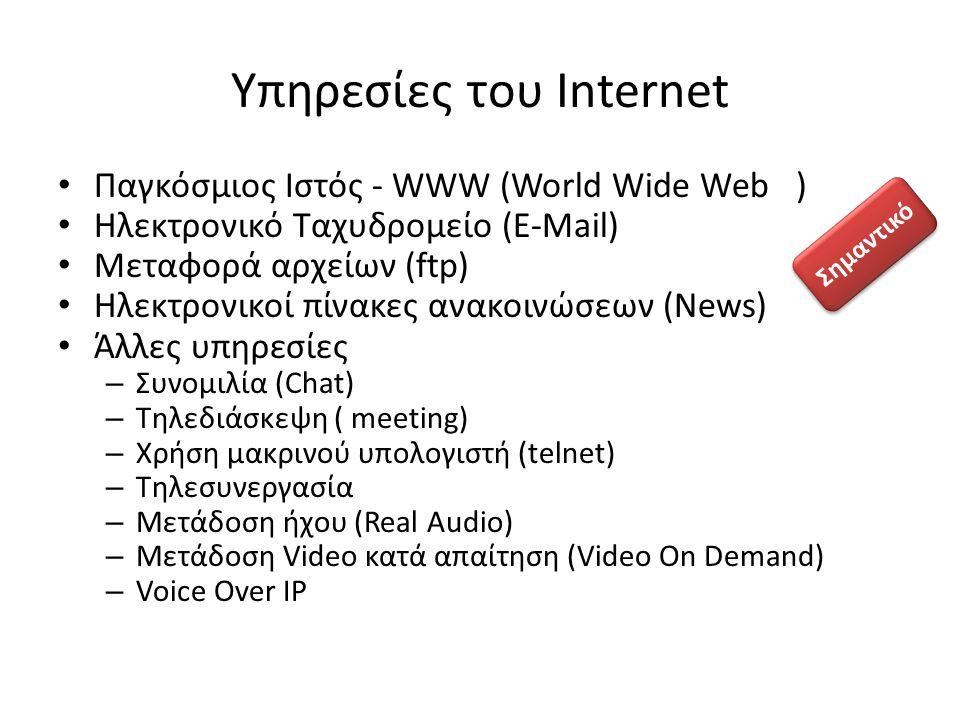 Υπηρεσίες του Internet Παγκόσμιος Ιστός - WWW (World Wide Web ) Ηλεκτρονικό Ταχυδρομείο (E-Μail) Μεταφορά αρχείων (ftp) Ηλεκτρονικοί πίνακες ανακοινώσ