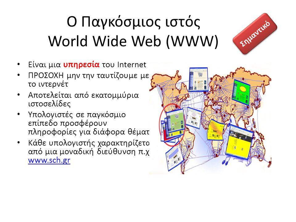 Ο Παγκόσμιος ιστός World Wide Web (WWW) Είναι μια υπηρεσία του Internet ΠΡΟΣΟΧΗ μην την ταυτίζουμε με το ιντερνέτ Αποτελείται από εκατομμύρια ιστοσελί