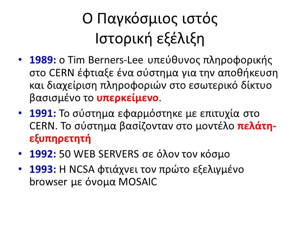 Ο Παγκόσμιος ιστός Ιστορική εξέλιξη 1989: ο Tim Berners-Lee υπεύθυνος πληροφορικής στο CERN έφτιαξε ένα σύστημα για την αποθήκευση και διαχείριση πληρ